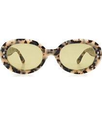 women's isabel marant 53mm round sunglasses - white havana/ green