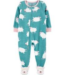 carter's toddler girl 1-piece sheep fleece footie pjs