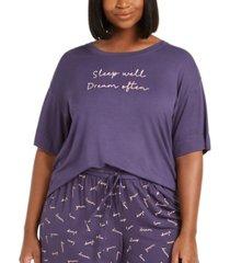 jenni plus-size ultra soft core printed short sleeve pajama shirt