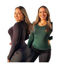 kit 2 blusas segunda pele manga longa básica fec fashion gola redonda verde e preta