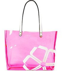 clear faux leather-handle pvc tote