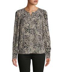 rebecca taylor women's leopard-print silk top - champagne - size 4