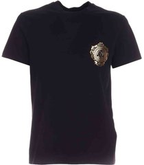 versace jeans couture v-emblem rubberized t-shirt in black