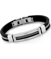 uomo 12mm braccialetto in acciaio inossidabile e silicone di stile casual trendy
