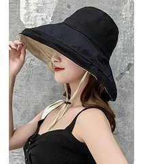sombrero de sol sólido de verano de doble cara para mujer negro