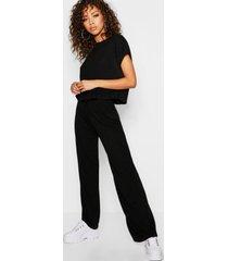 oversized geribbeld t-shirt en shorts met wijde pijpen set, zwart