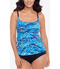 swim solutions printed tiered tummy-control one-piece swimsuit, created for macy's women's swimsuit