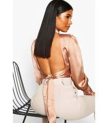 petite satin high neck tie back blouse, blush