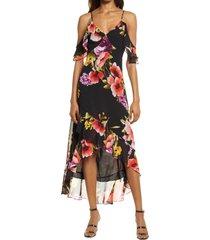 lulus love in bloom cold shoulder dress, size x-large in black floral at nordstrom