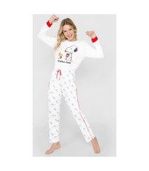 pijama snoopy by fiveblu snoopy off-white/vermelho