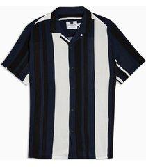 mens navy and ecru stripe slim shirt