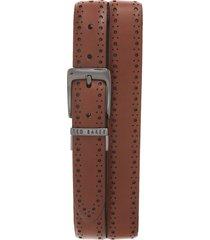 men's ted baker london 'bush' reversible leather belt, size 38 - tan/ dark brown