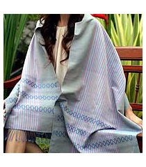 cotton shawl, 'blue symphony' (thailand)