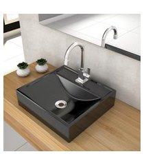 cuba de apoio para banheiro compace ravena q39w quadrada preta
