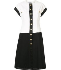chanel pre-owned two-tone cc dress - white