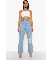 sterrenprint boyfriend jeans met studs, light blue