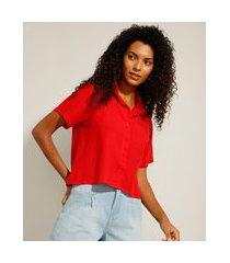 camisa cropped de viscose manga curta vermelha
