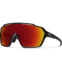 smith shift mag 99mm shield sunglasses in black/chromapop red mirror at nordstrom