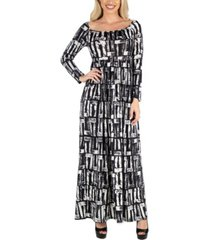 24seven comfort apparel women's long sleeve maxi dress