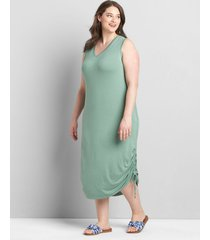 lane bryant women's ruched side midi dress 10/12 lush palm