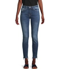 flying monkey women's mid-rise frayed released-hem ankle skinny jeans - blue - size 26 (2-4)