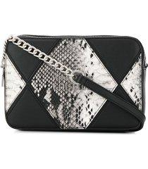 versace jeans couture diamond patch shoulder bag - black