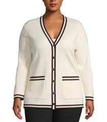 anne klein plus size contrast-trim cardigan