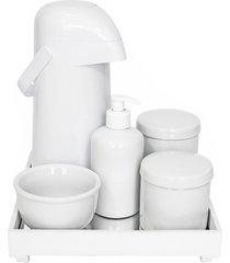 kit higiene espelho completo porcelanas e garrafa branco quarto bebê unissex