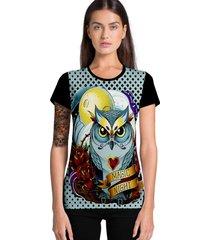 camiseta feminina ramavi coruja manga curta
