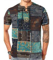 hombres verano casual algodón soft tribal print t-shirt