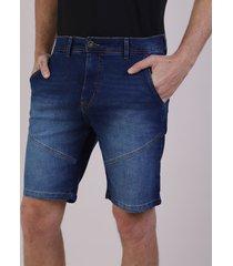 bermuda jeans masculina reta com bolsos e recortes azul escuro