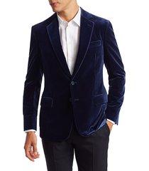 ralph lauren men's kent velvet single-breasted blazer - blue - size 40 r