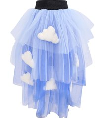 efvva light blue and blue girl skirt with clouds