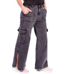 jeans palazzo abetura y bolsillos negro efesis