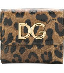 dolce & gabbana small leopard print wallet - brown