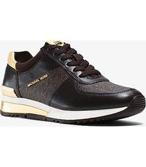 mk sneaker allie in pelle con logo - marrone (marrone) - michael kors