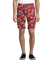 printed linen drawstring shorts