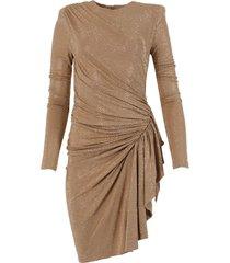 beige embellished asymmetric dress