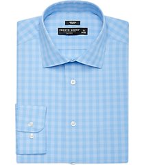 pronto uomo blue & teal plaid slim fit dress shirt