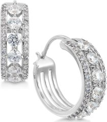 eliot danori crystal triple-row small hoop earrings s, created for macy's