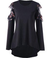 floral print open shoulder high low t-shirt