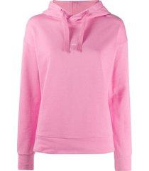 a.p.c. logo print hooded sweatshirt - pink