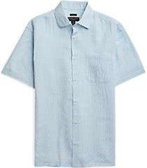 pronto uomo white & light blue check short sleeve sport shirt