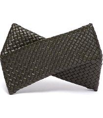 intrecciato leather twist clutch
