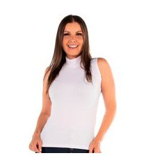 blusa blusinha básica gola alta regata canelada sem manga branco