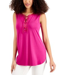jm collection solid lace-up tank top, created for macy's