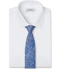 cravatta su misura, lanieri, floral blu elettrico, quattro stagioni