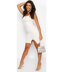 tall square neck split mini dress, ivory