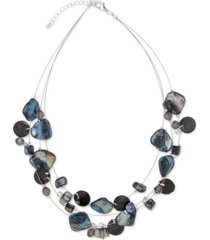 "style & co silver-tone disc, bead & stone triple-row statement necklace, 18"" + 3"" extender, created for macy's"