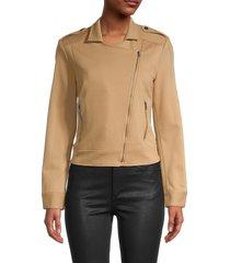 bcbgmaxazria women's asymmetrical-zip jacket - light camel - size m